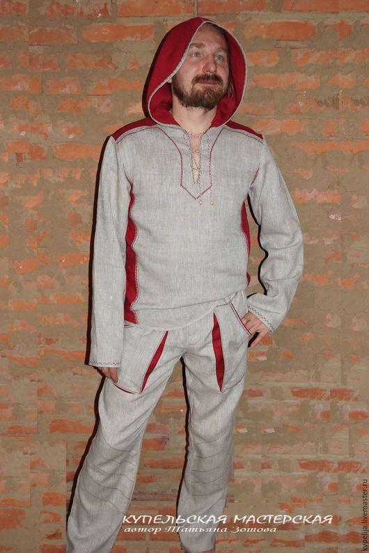 """Одежда ручной работы. Ярмарка Мастеров - ручная работа. Купить Костюм льняной """"Ярило"""". Handmade. Комбинированный, славянская рубаха"""