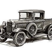 Картины и панно handmade. Livemaster - original item Figure, Gaz 4 pickup truck. Handmade.