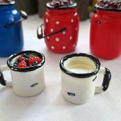 Куклы и игрушки ручной работы. Ярмарка Мастеров - ручная работа Бидоны и чашки с ягодами. Еда для кукол.. Handmade.