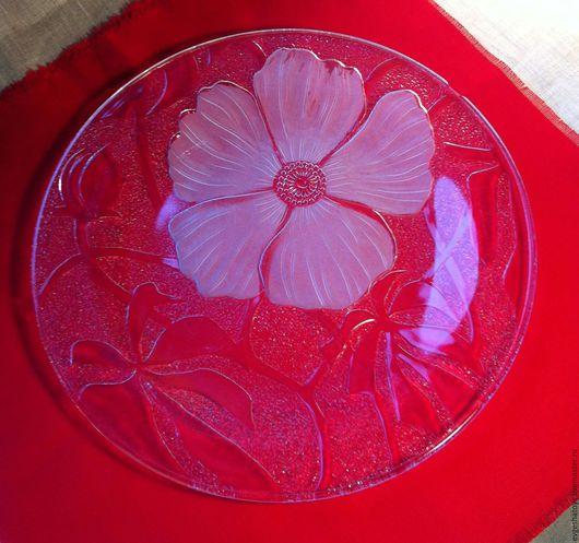 """Винтажная посуда. Ярмарка Мастеров - ручная работа. Купить Блюдо """"Цветок шиповника"""", художественное стекло, Индонезия, 80-е гг. Handmade."""