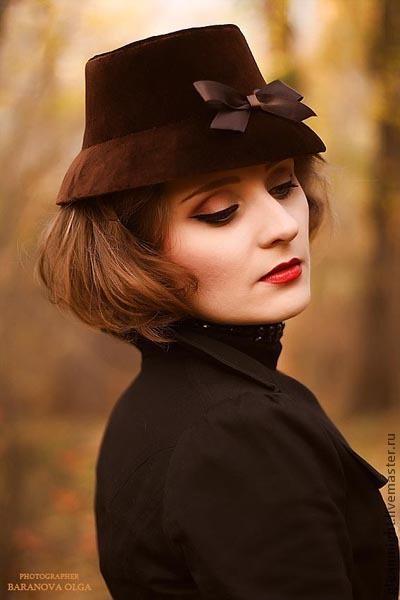 Шляпы ручной работы. Ярмарка Мастеров - ручная работа. Купить Бархатная шляпка Эксклюзив. Handmade. Коричневый, ретро-шляпка