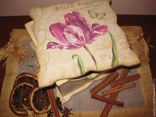 """Кухня ручной работы. Ярмарка Мастеров - ручная работа. Купить Салфетница """" Тюльпан и кружева"""". Handmade. Разноцветный, подарок, дерево"""