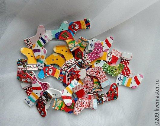 Шитье ручной работы. Ярмарка Мастеров - ручная работа. Купить пуговицы  деревянные Рождество. Handmade. Разноцветный, пуговицы декоративные