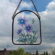 Предметы интерьера винтажные ручной работы. Ярмарка Мастеров - ручная работа Небольшие милые стеклянные панно с цветами. Handmade.