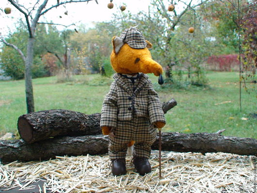 коллекционная игрушка, лис тедди, авторская игрушка, подарок купить, лис сыщик, инна дулиш, сокровища из сундучка