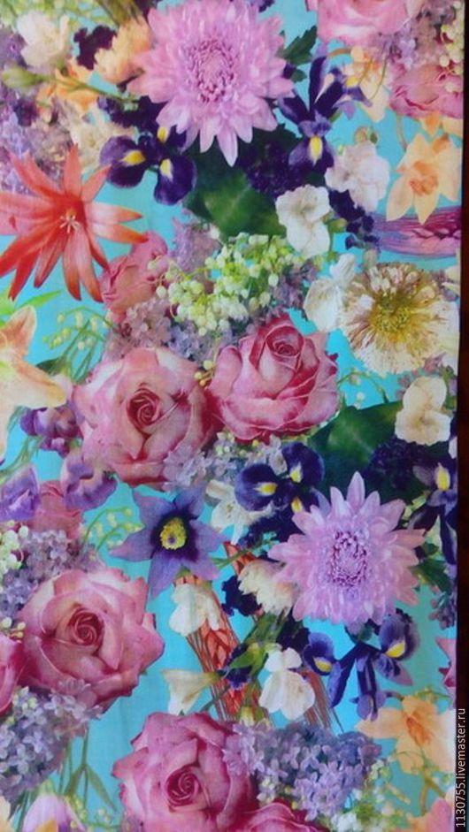Шитье ручной работы. Ярмарка Мастеров - ручная работа. Купить Ткань штапель бирюза цветы 3 вида. Handmade. Бирюзовый