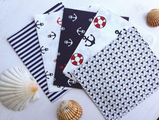 Шитье ручной работы. Ярмарка Мастеров - ручная работа. Купить Набор тканей с морской тематикой №1, состоит из 5 отрезов хлопка. Handmade.