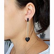 Украшения handmade. Livemaster - original item Earrings hearts on chains. Handmade.