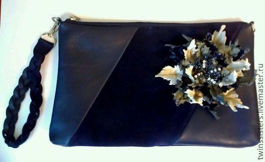 Женские сумки ручной работы. Ярмарка Мастеров - ручная работа. Купить Клатч.. Handmade. Тёмно-синий, кожа, украшение, коса