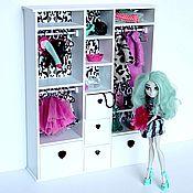 Куклы и игрушки ручной работы. Ярмарка Мастеров - ручная работа Большой бело-черный шкаф для куколок Monster High и др. Handmade.