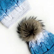 Работы для детей, handmade. Livemaster - original item Baby winter set hat and cowl