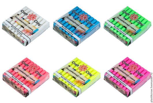 Полимерная глина `Craft&Clay` флуоресцентный верхний ряд: 1301 белый, 1302 голубой, 1303 зеленый нижний ряд: 1304 красный, 1305 лимонный, 1306 маджента