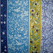 Материалы для творчества ручной работы. Ярмарка Мастеров - ручная работа ост 1 шт  Салфетка Узор растительный синий. Handmade.