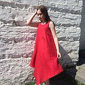 "Одежда handmade. Livemaster - original item Red linen dress ""Asama"". Handmade."