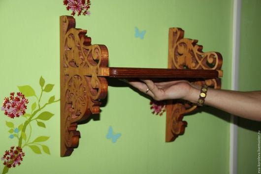 """Мебель ручной работы. Ярмарка Мастеров - ручная работа. Купить Полка """"Тёплое дерево"""". Handmade. Коричневый, полка для книг, узор"""