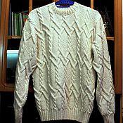 Одежда ручной работы. Ярмарка Мастеров - ручная работа Мужской свитер Белоснежный. Handmade.