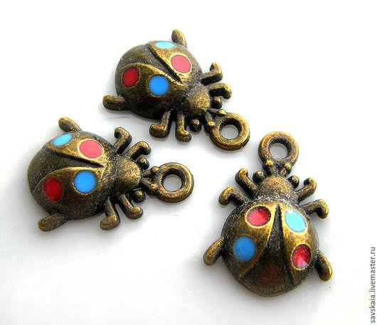 Подвеска Божья Коровка, античная бронза с эмалью