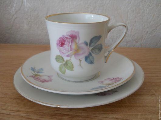 Винтажная посуда. Ярмарка Мастеров - ручная работа. Купить С.Т Altwasser Selesia Антикварное  фарфоровое чайное  трио. Handmade.