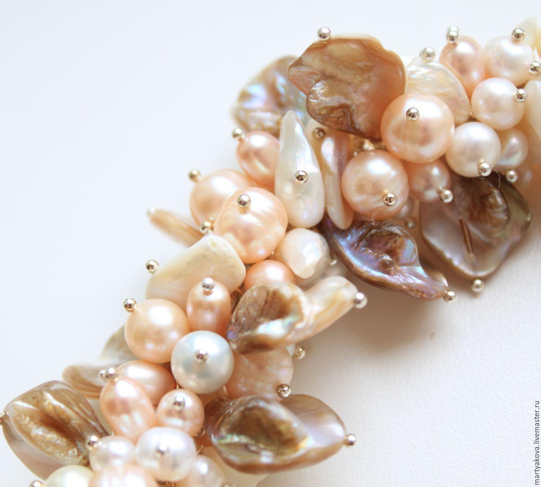 Браслет «Shell» из натурального жемчуга и крупного перламутра