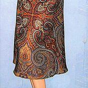 """Одежда ручной работы. Ярмарка Мастеров - ручная работа Юбка-миди из павловопосадских платков """"Классический""""( синяя). Handmade."""