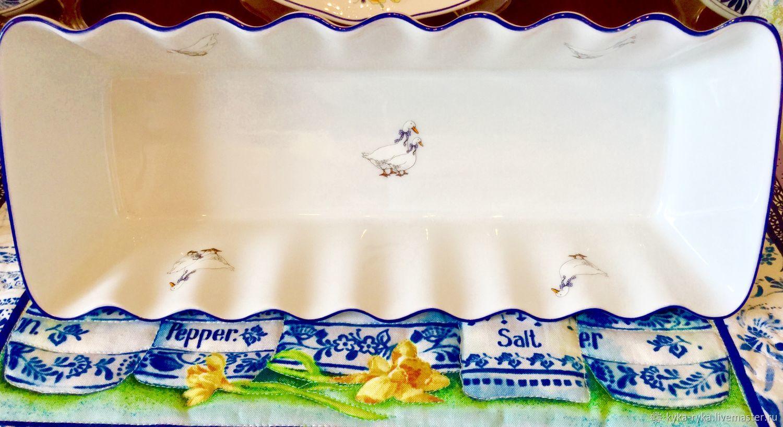 Винтажная посуда. Ярмарка Мастеров - ручная работа. Купить Винтаж: ЧЕХИЯ/'ГУСИКИ'красивая глубокая фарфоровая форма для выпечки. Handmade. Гуси