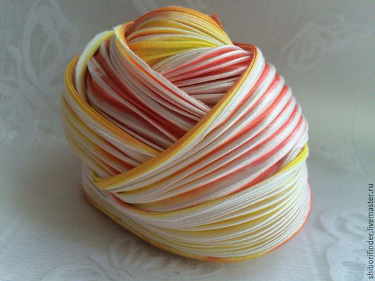 Для украшений ручной работы. Ярмарка Мастеров - ручная работа. Купить №52 Жар птица Ленты Шибори Silk Ribbons Shibori. Handmade.