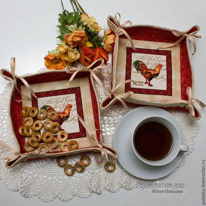 Петух Петушок, Символ Нового года Хлебница-сухарница из ткани для сервировки стола, текстиль для кухни. Подарок женщине, подруге, на новоселье Для украшения кухни, дачи, загородного дома Уютный дом