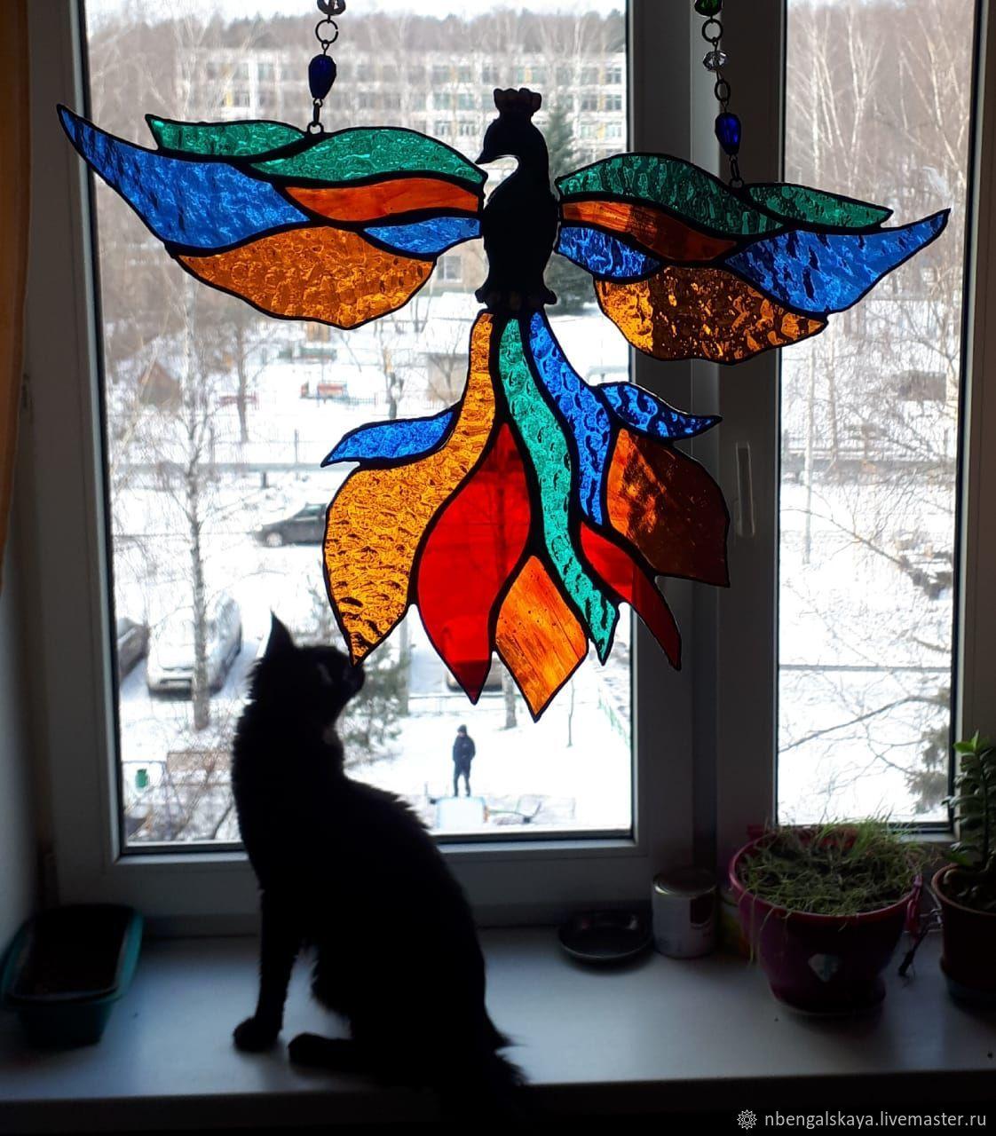 Птица счастья, феникс и др, Витражи, Москва,  Фото №1