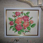 Картины и панно ручной работы. Ярмарка Мастеров - ручная работа Английские розы. Вышивка (крестиком).. Handmade.