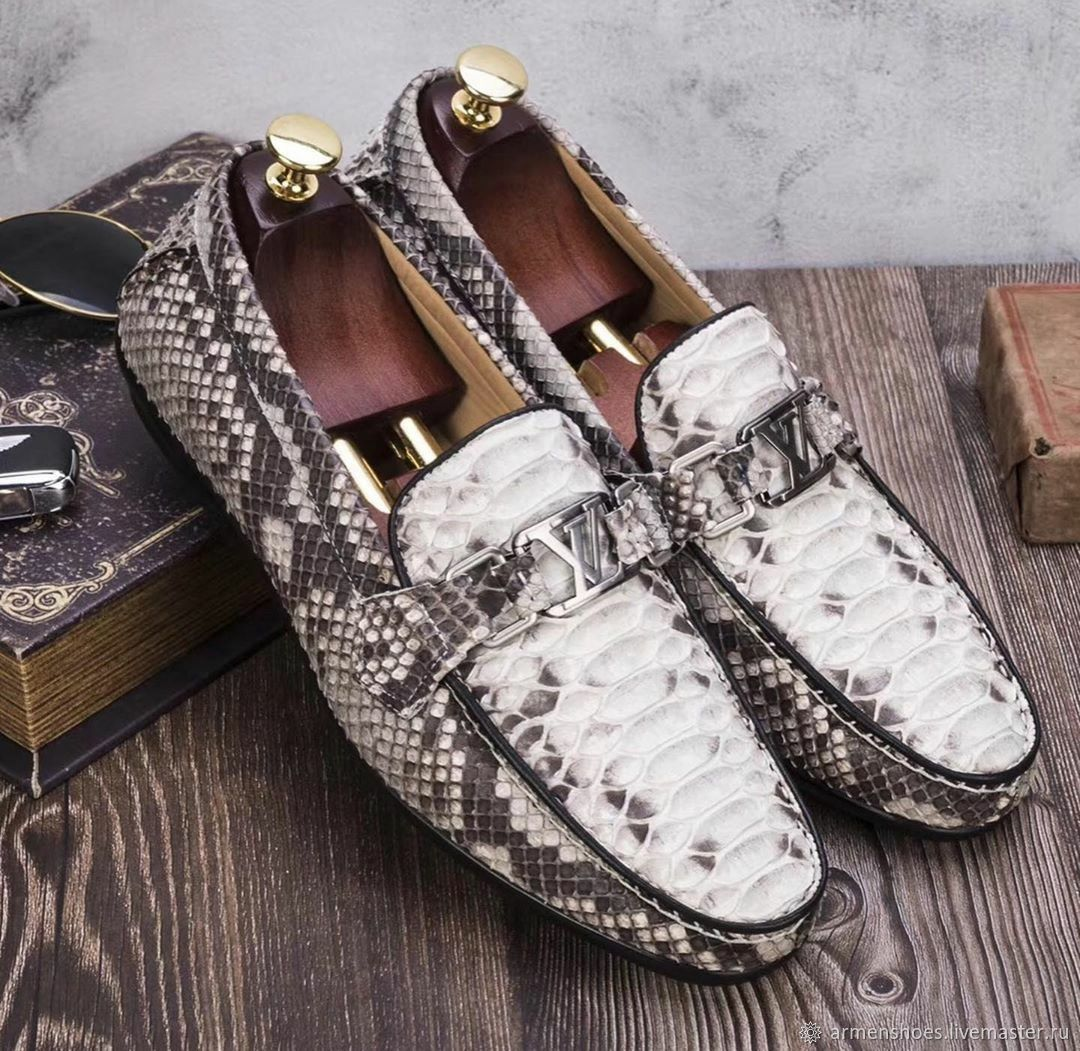 Moccasins made of genuine Python leather, in natural color, Moccasins, Tosno,  Фото №1