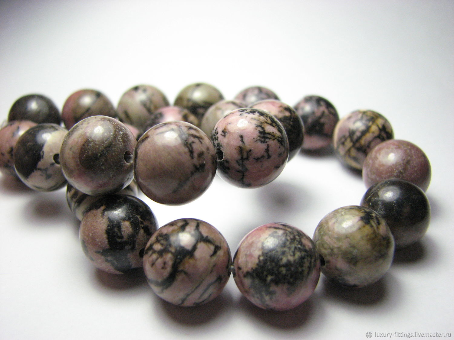 Rhodonite bead 12 mm smooth ball, Beads1, Moscow,  Фото №1