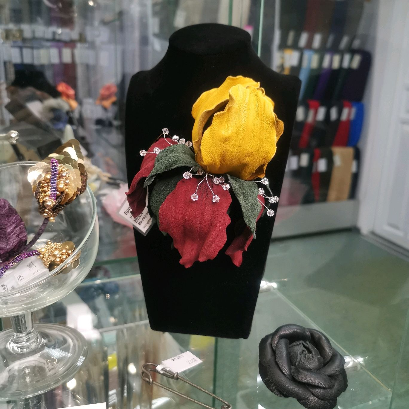 Iris brooch made of leather and suede, Brooches, Tver,  Фото №1