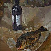 """Картины и панно ручной работы. Ярмарка Мастеров - ручная работа Картина маслом """"Натюрморт с вином и рыбой"""". Handmade."""