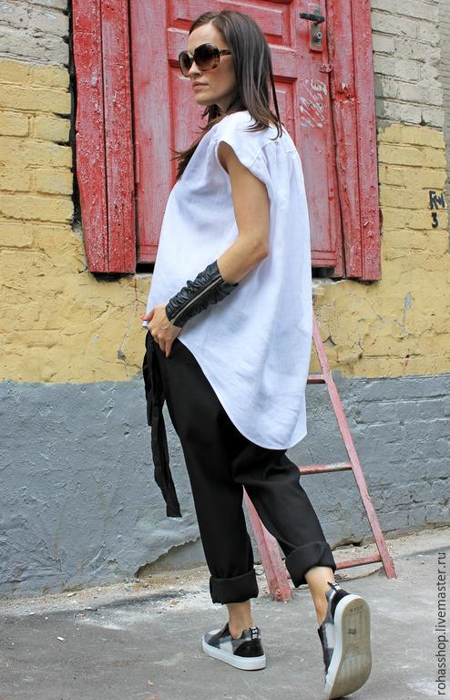 R00009 Топ белый одежда из льна летняя туника белая туника белый топ рубашка летняя свободная одежда стильный топ модная туника свободный стиль легкая одежда туника длинная
