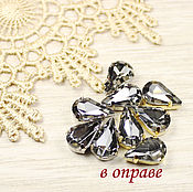 Материалы для творчества handmade. Livemaster - original item Drops 13h8 mm Black diamond in gold and silver pravopisanie. Handmade.