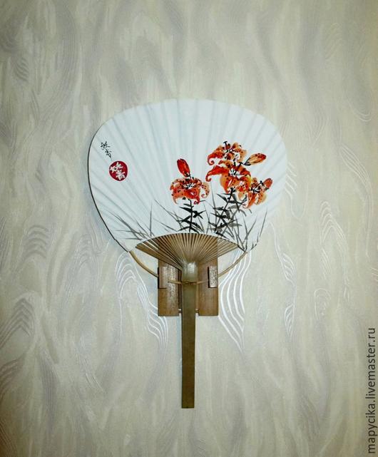 """Веера ручной работы. Ярмарка Мастеров - ручная работа. Купить Веер-утива """"Лилии"""". Handmade. Веер, суми-э, Живопись"""