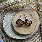 Украшения handmade. Livemaster - original item Silver plated earrings Hohloma (Golden pattern). Handmade.