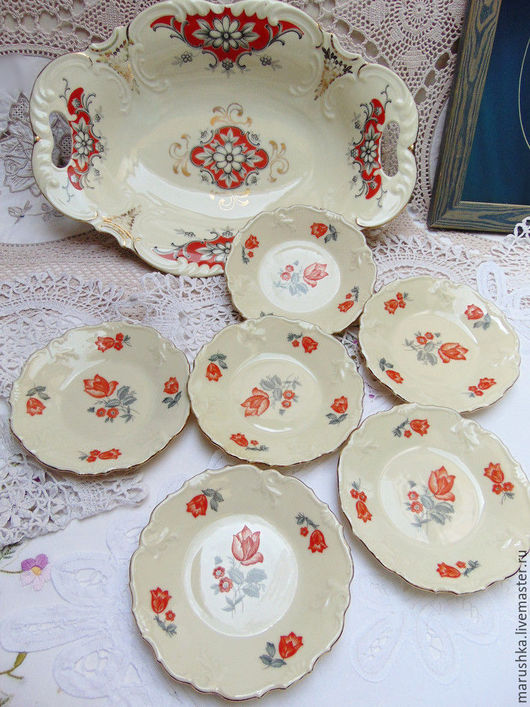 Винтажная посуда. Ярмарка Мастеров - ручная работа. Купить Набор для десерта, Бавария, 60-е г.г.. Handmade. Коралловый