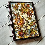 "Канцелярские товары handmade. Livemaster - original item Notepad wood cover A4 ""Leaf fall"". Handmade."