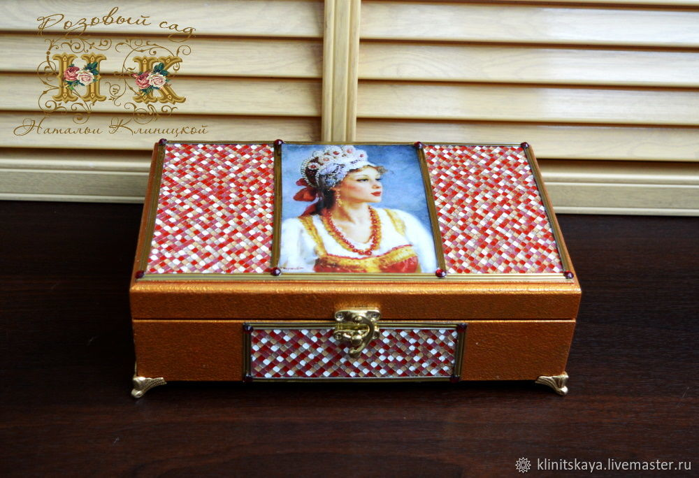 Jewelry box decoupage with mirror 6 compartments cells for rings, Box, Moscow,  Фото №1