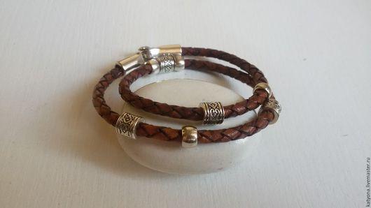 Браслеты ручной работы. Ярмарка Мастеров - ручная работа. Купить Кожаный браслет-ожерелье (темно-коричневый). Handmade. Коричневый, украшения