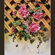 Картины и панно ручной работы. Ярмарка Мастеров - ручная работа Вышивка лентами Вьющиеся розы. Handmade.
