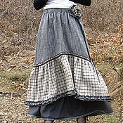 """Одежда ручной работы. Ярмарка Мастеров - ручная работа Юбка в пол в стиле бохо """"Полосатая клеточка"""". Handmade."""