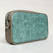 Сумки и аксессуары handmade. Livemaster - original item Cosmetic bag made of aquamarine PU Leather. Handmade.