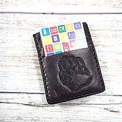 Сумки и аксессуары handmade. Livemaster - original item Leather Wallet cardholder Bear Paw. Handmade.