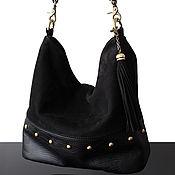 Сумки и аксессуары handmade. Livemaster - original item Hobo bag made of genuine black suede and leather, handmade. Handmade.