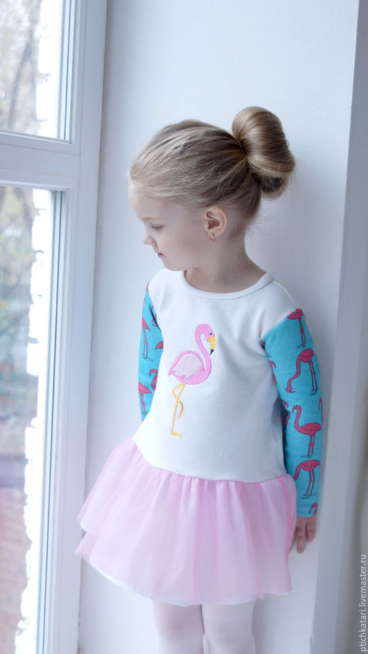 Одежда для девочек, ручной работы. Ярмарка Мастеров - ручная работа. Купить Платье фламинго. Handmade. Бледно-розовый, нежность, фатин