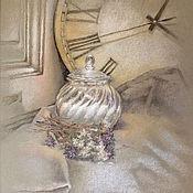 Картины и панно ручной работы. Ярмарка Мастеров - ручная работа Винтажный натюрморт пастелью Часы кажется стали, надо бы завести. Handmade.