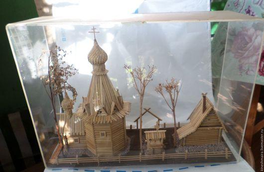 Винтажные предметы интерьера. Ярмарка Мастеров - ручная работа. Купить Старая композиция макет  из дерева под стеклом.. Handmade. Коричневый