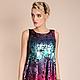 Платье `Хамелеон` выполнено из трикотажного полотна с пайетками `чешуя`, которые при поглаживании меняют цвет. Форма на основе лёгкой трапеции, обеспечивает безупречную посадку на фигуре. Нарядное пл